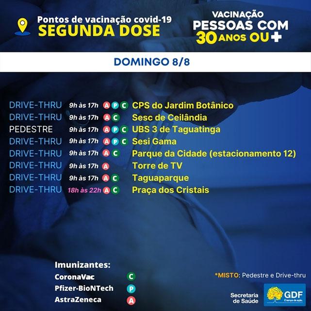 pontos-de-vacinacao-segunda-dose-saude-brasilia-df-covid-domingo